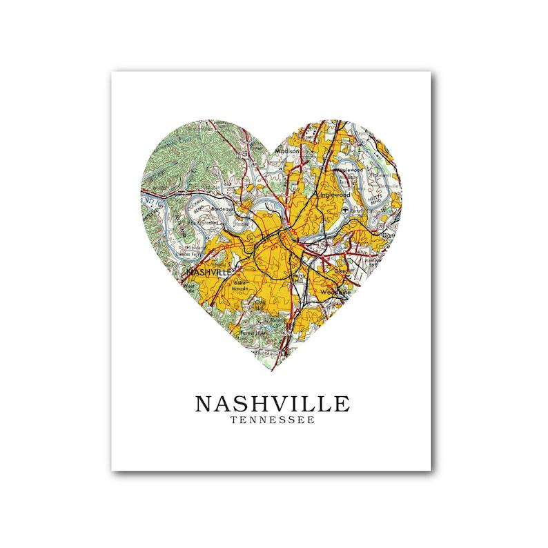 Nashville Map Heart Print Nashville Map Art Nashville   Etsy