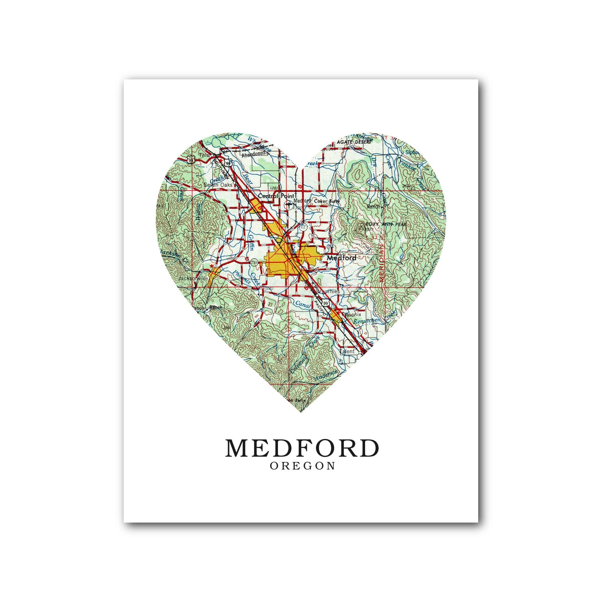 Medford Map Heart Print Medford Map Art Oregon Map Heart Etsy