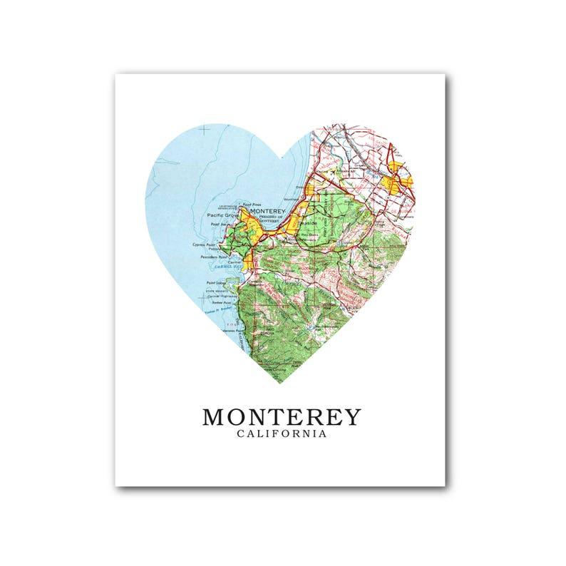 Monterey Map Heart Print Monterey Map Art California Map Ca Etsy