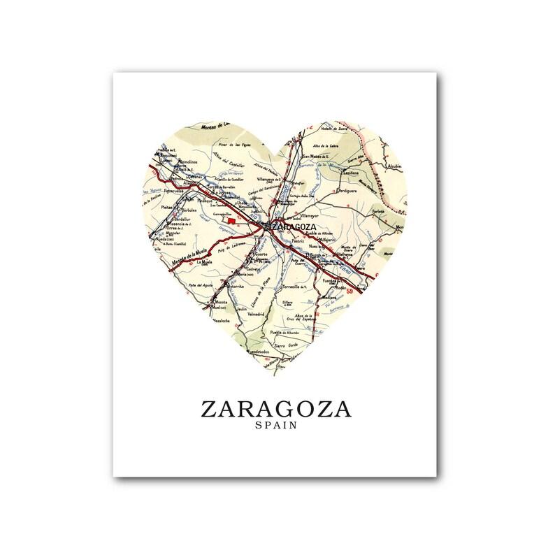 Zaragoza Map Of Spain.Zaragoza Map Heart Print Spain Map Art Zaragoza Spain Map Heart Map Print Spain Map Gift Zaragoza Art Zaragoza 8 X 10 Inches Unframed