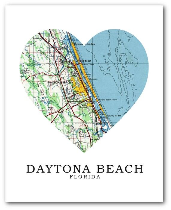 Daytona Florida Map.Daytona Map Heart Print Daytona Map Art Florida Map Heart Etsy