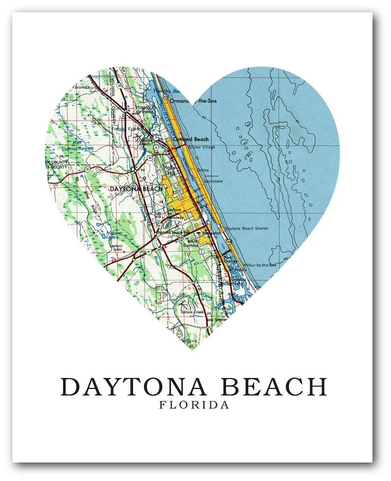 Daytona Map Print Daytona Map Art Florida Map | Etsy on