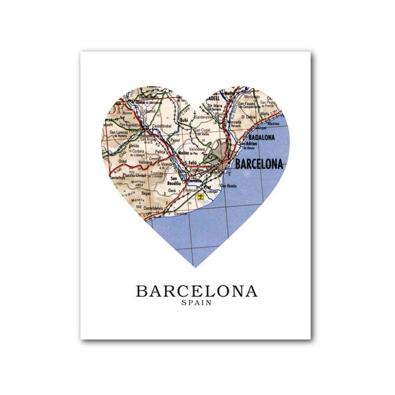 Barcelona In Spain Map.Barcelona Map Heart Print Spain Map Art Barcelona Spain Map Etsy