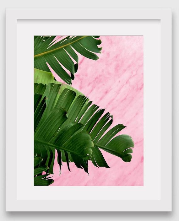 Impresión de hoja de plátano mármol rosado hoja Tropical | Etsy