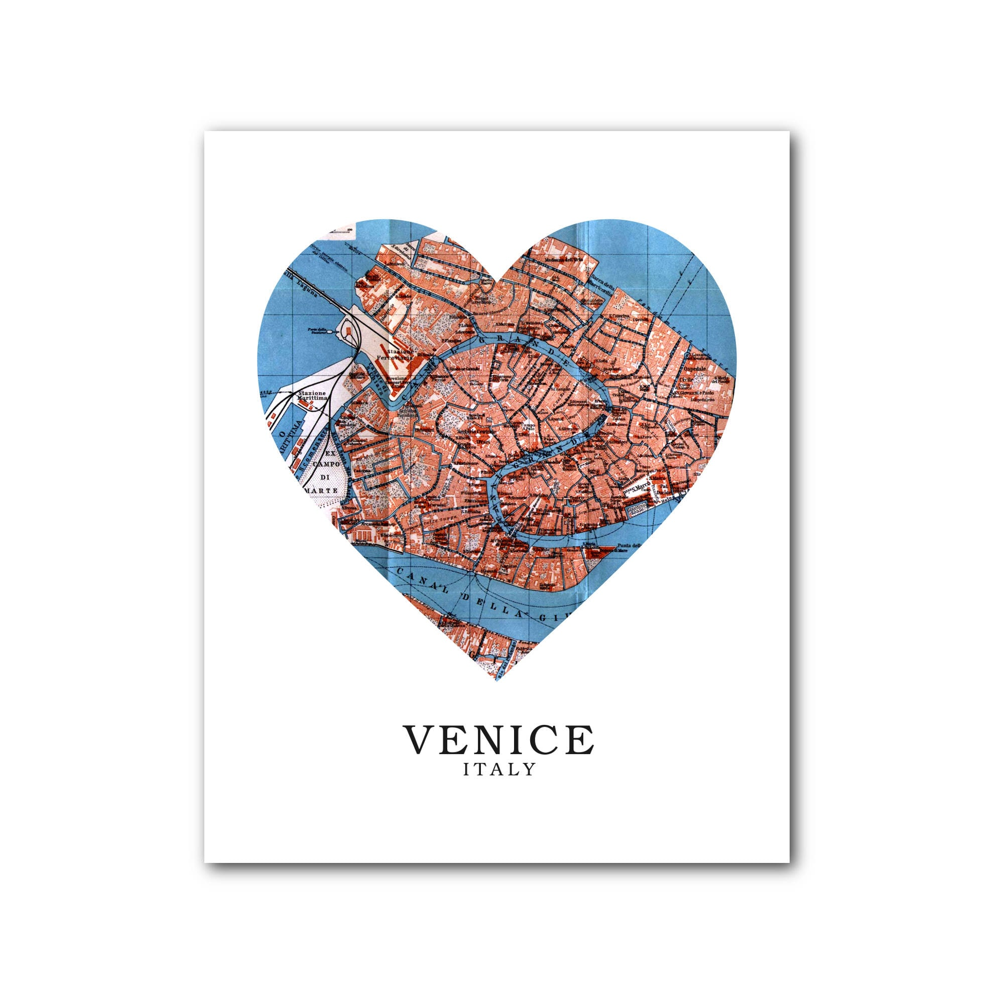 Customized Country Map Silhouette Hometown Love Print Heart Over ANY City Personalized Gift Custom Italy Map Art Travel Heart Map