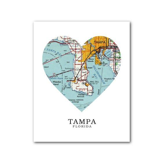 Tampa Florida On Map.Tampa Map Heart Print Tampa Map Art Florida Map Heart Map Etsy
