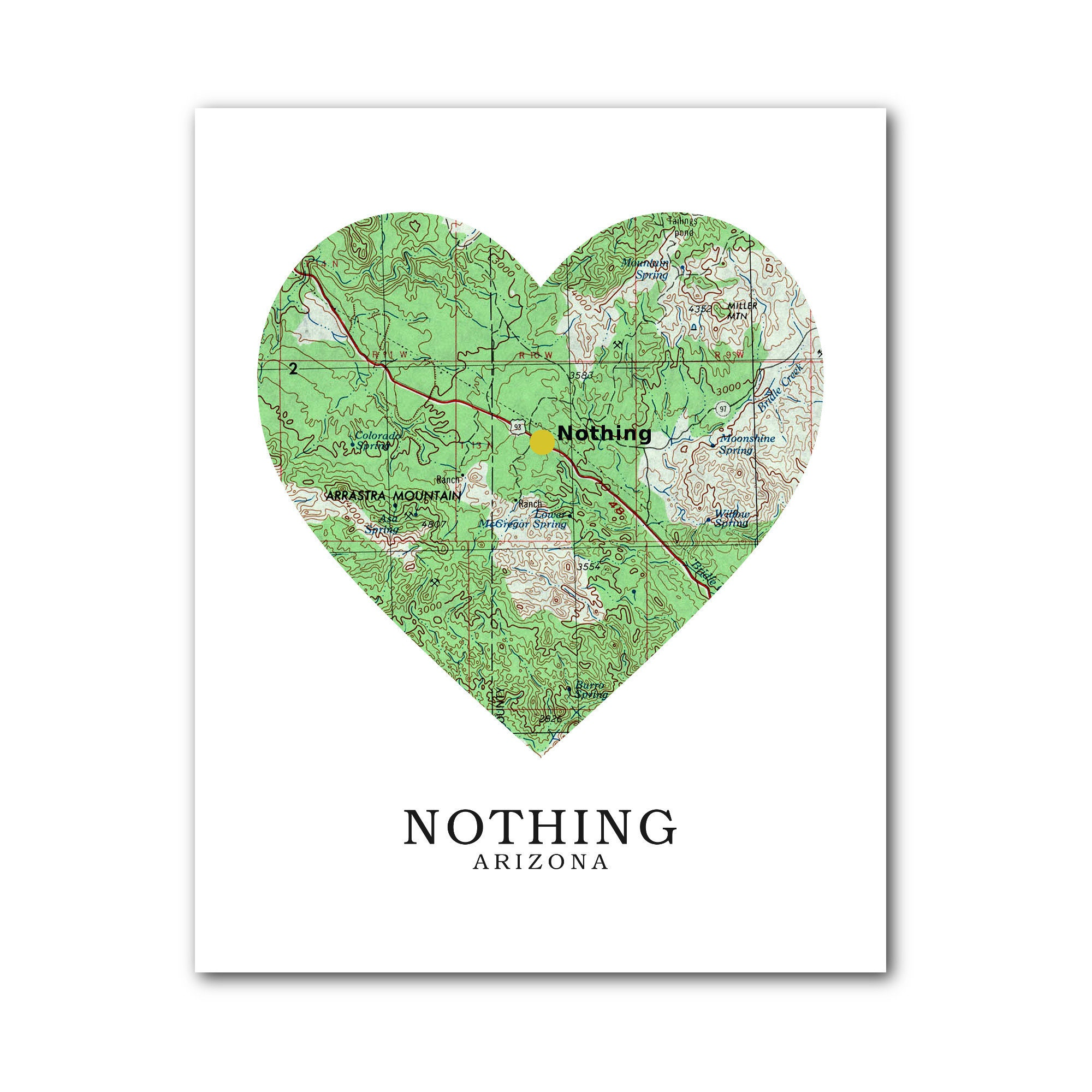 Map Of Just Arizona.Nothing Map Heart Print Nothing Map Art Nothing Arizona Map Heart Map Print Nothing Map Gift Love Arizona Art 8 X 10 Inches Unframed