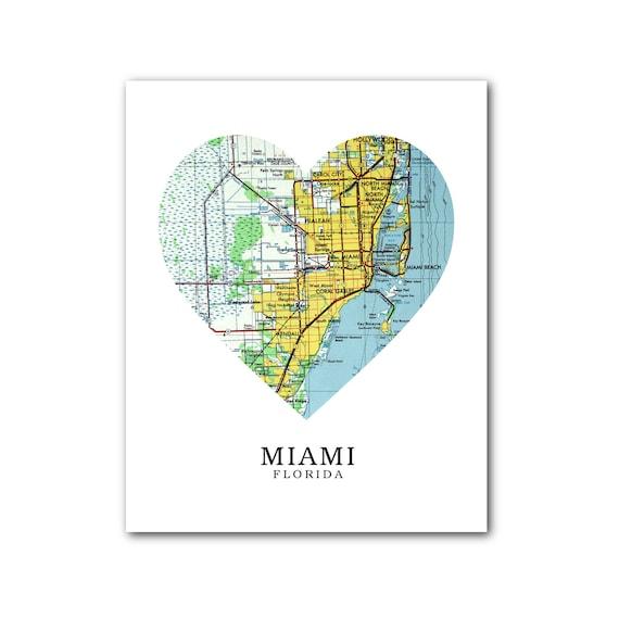 Map Miami Florida.Miami Map Heart Print Miami Map Art Florida Map Heart Map Etsy