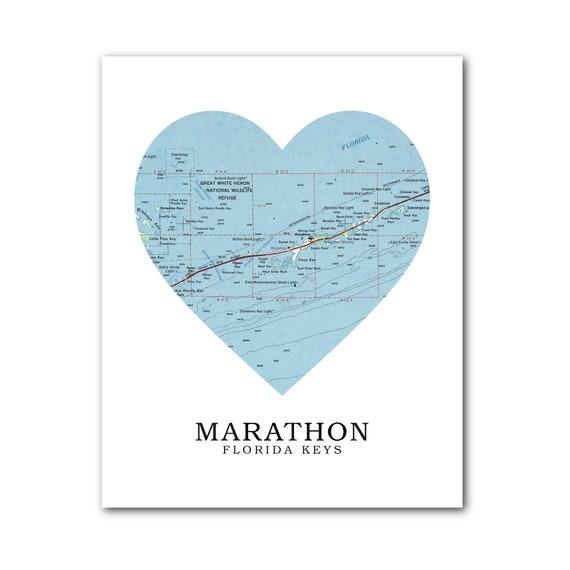 Marathon Florida Map.Marathon Map Heart Print Marathon Fl Map Art Florida Map Etsy