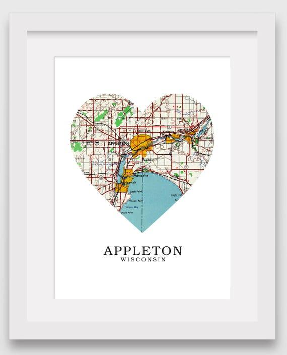 Appleton Wisconsin Map Heart Print Appleton Map Art Appleton Etsy