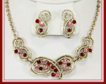 Vintage Rhinestone Demi-Parure,Vintage Rhinestone Jewelry Set,Vintage Pink Rhinestone Jewelry Set,Vintage Red Rhinestone Jewelry Set,Jewelry