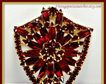 Vintage Rhinestone Brooch,Vintage Red Rhinestone Brooch,Vintage Rhinestone Pin,Vintage Red Rhinestone Pin,Vintage Shield Brooch,Shield Pin