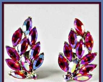Vintage Pink Aurora Borealis Rhinestone Earrings,Vintage Pink Rhinestone Earrings,Vintage Aurora Borealis Earrings,Vintage Pink Earrings
