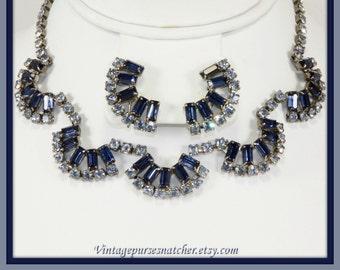 Vintage Rhinestone Jewelry Set,Vintage Rhinestone Demi-Parure,Vintage Jewelry Set,Unique Vintage Jewelry Set,Unique Vintage Demi-Parure,Set