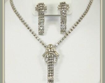 Vintage Rhinestone Jewelry Set,Vintage Rhinestone Demi Parure,Vintage Rhinestone Necklace,Vintage Rhinestone Earrings,Unique Vintage Jewelry