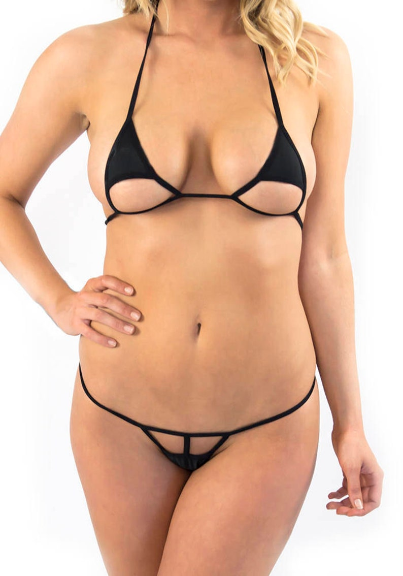 3c2ccc4694 Extreme trangle cut Micro Bikini Brazilian g string in Black
