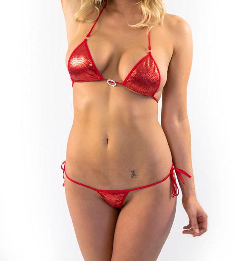 451ac8f6327 Diamond Print Ruby Red Micro Bikini Brazilian bottom and top   Etsy