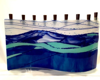 Handcrafted fused glass menorah M1