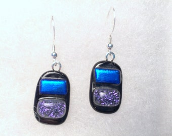 fused glass earrings blue and purple E14