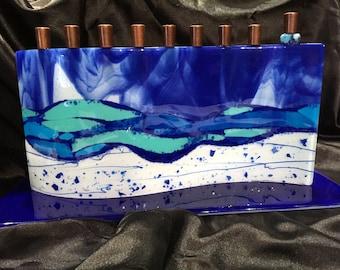 Fused glass menorah M7