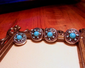 Turquoise Blue Beaded Metal Mini Petite Snap Jewelry Snap Charm 12mm 1pc 2pc 4pc GingerSnap Noosa Style Ginger Snap Earring Button Charm