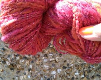 Hand spun art yarn for weaving or knitting.