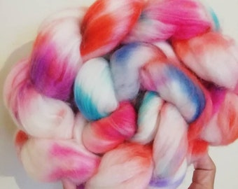 Hand dyed Polwarth Superwash Spinning Fibre Braid