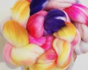Hand dyed Polwarth Superwash Spinning Fibre Braid Winter Pansies
