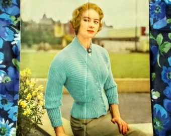 "Original Vintage Lavanda/Lister Knitting Pattern - 1950's - Lady's cardigan in 4 sizes  - Bust 30"" to 36"" - No. 456 - Used"