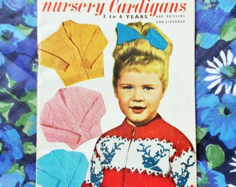 4e302d0f1f9d7 Vintage Weldons Practical Knitting Booklet - Late 1950 s -  Nursery  Cardigans - Boy s   Girl s knitted cardigans  - Pattern no. 395 - used