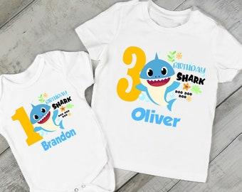 fbe8eedd9 Boys Birthday Shark Birthday T-Shirt/or/Bodysuit/FREE Personalization
