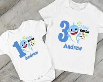 afc696b5b Boys Baby Shark Birthday T-Shirt/or/Bodysuit/FREE Personalization