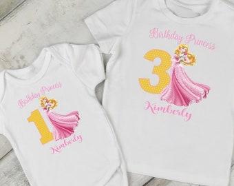 34dd4fa3e954 Princess Aurora Birthday T-Shirt or Bodysuit; Girls Princess Birthday;FREE  Personalization