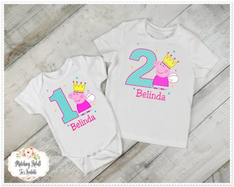 Peppa Pig Birthday T Shirt Or Bodysuit 1st And