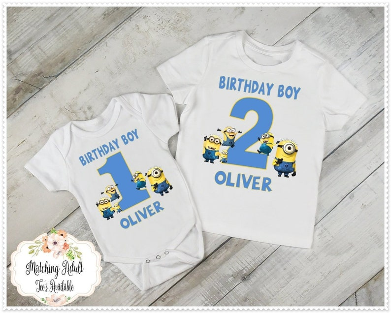 Boys Minion Birthday T Shirt Or Bodysuit 1st And