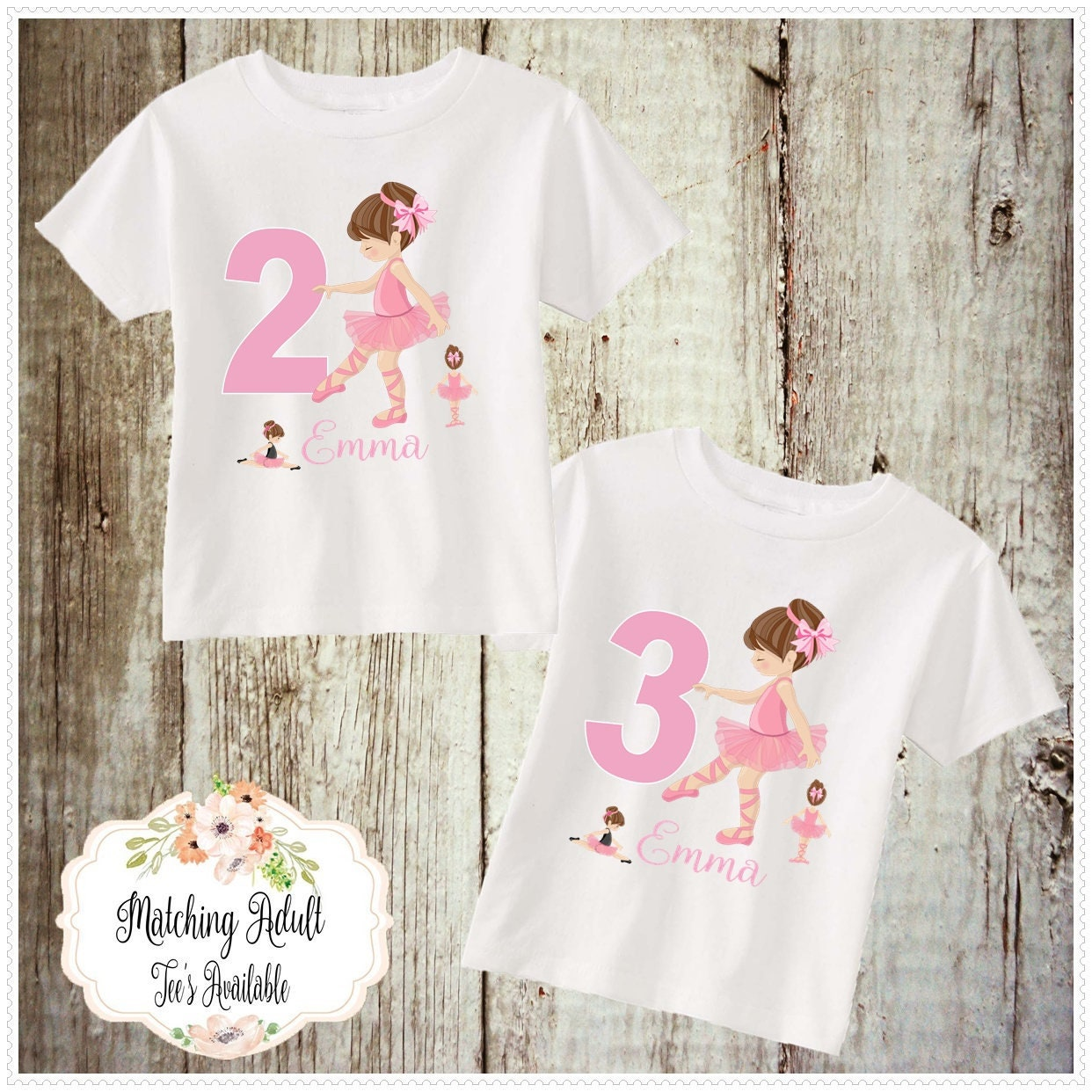 b75d399ec31f Ballerina Birthday T Shirt or Bodysuit Girls Birthday