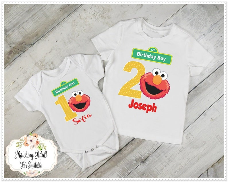 Elmo Birthday T Shirt Or Bodysuit Boy Girl 1st And Up FREE Personalization