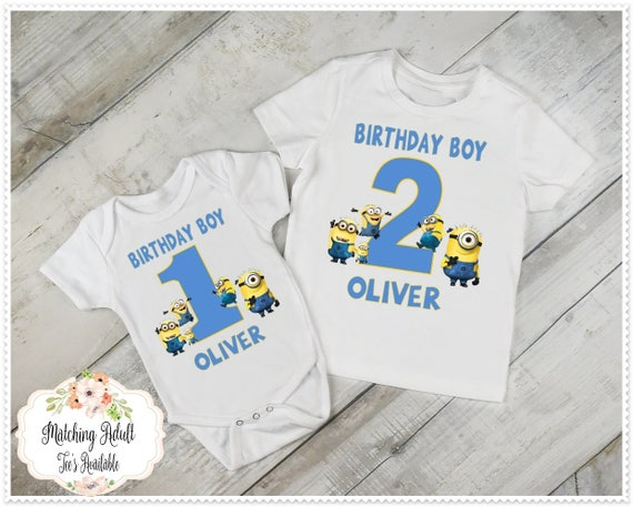 Boys Minion Birthday Tee 1st 2nd