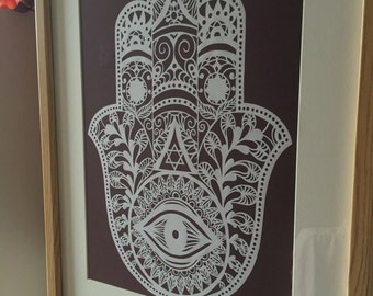 Hamsa Handmade papercut/ Judaica/ Wall decor/ Home decor/ Jewish wedding gift/ Jewish home/ New House/ Hamsa/