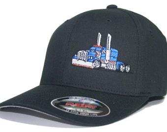 65684c41d73ce Trucker Hat Fitted Flexfit Cap Rig Tractor Peterbilt Kenworth Mack  Freightliner