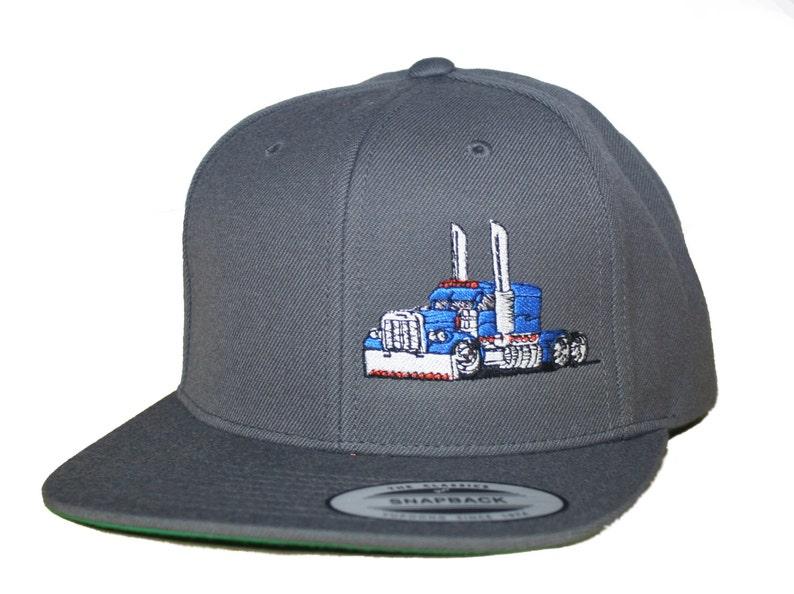 3ce97767a18 Trucker Hat Flat Bill Snapback Rig Tractor Peterbilt Kenworth