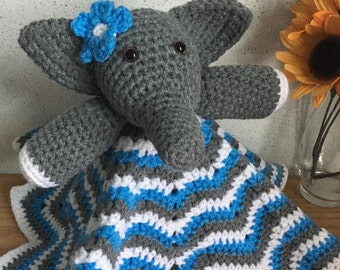 Ellie the Elephant Lovey//Eli the Elephant Lovey//Elephant Safety Blanket//For Babies