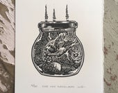 Chameleon Jam // Original linocut relief print // Free shipping