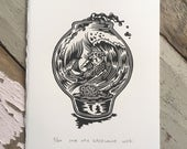 One lost soul in a fishbowl // Original linocut print // Free shipping