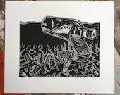 Look What I Found! // Original linocut print