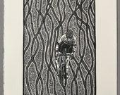 Digging Deep // Original linocut print