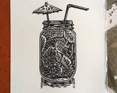 Ein Mojito Bitte // Original linocut print // Free shipping