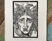 Medusa // Original linocut print // Free shipping