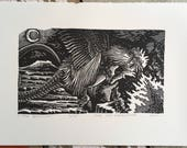 The Basilisk // Original linocut print // Free shipping