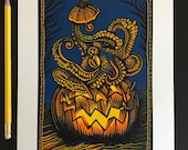 Halloween Hideout // Original reduction linocut print // Free shipping